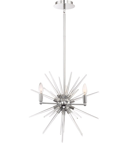 Zeev Lighting CD10178/4/CH Pulsar 4 Light 20 inch Chrome with Clear Glass Chandelier Ceiling Light photo