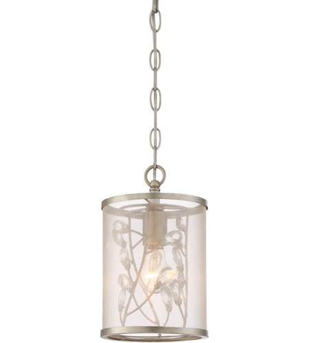 Zeev Lighting MP40032/1/BNS Vine 1 Light 7 inch Burnished Silver with Crystal Mini Pendant Ceiling Light photo