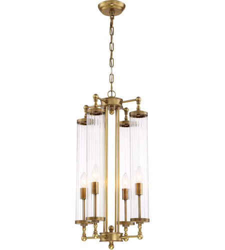 Zeev Lighting P30068 4 Agb Regis 4 Light 14 Inch Aged Brass With Fluted Glass Pendant Ceiling Light
