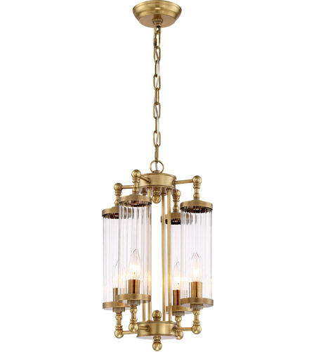 Zeev Lighting P30070 4 Agb Regis 4 Light 12 Inch Aged Brass With Fluted Glass Pendant Ceiling Light