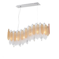 Zeev Lighting CD10096/6/CH-ABF Stratus 6 Light 7 inch Chrome Frame Amber and Frosted Glass Chandelier Ceiling Light