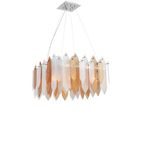 Zeev Lighting CD10097/8/CH-ABF Stratus 8 Light 26 inch Chrome Frame Amber and Frosted Glass Chandelier Ceiling Light