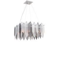 Zeev Lighting CD10097/8/CH-SMF Stratus 8 Light 26 inch Chrome Frame Smoke and Frosted Glass Chandelier Ceiling Light