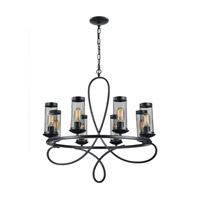Kenosha 8 Light 29 inch Rustic Black Chandelier Ceiling Light
