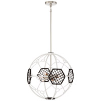 Plato 9 Light 21 inch White and Black Chandelier Ceiling Light