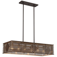 Vicis 6 Light 16 inch Bronze And Stained Wood Chandelier Ceiling Light