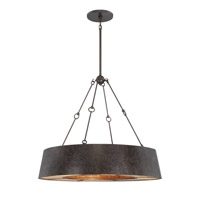 Plait- Rustic 8 Light 32 inch Textured Blackend Steel & Gold Chandelier Ceiling Light