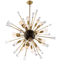 Muse 24 Light 38 inch Aged Brass and Matte Black Chandelier Ceiling Light