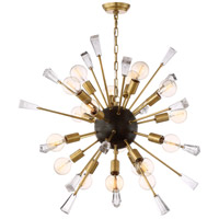 Zeev Lighting CD10164/18/AGB+MBK Muse 18 Light 35 inch Aged Brass and Matte Black Chandelier Ceiling Light