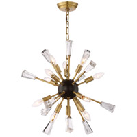 Zeev Lighting CD10165/12/AGB+MBK Muse 12 Light 24 inch Aged Brass and Matte Black Chandelier Ceiling Light