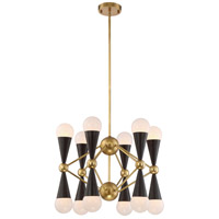 Crosby 12 Light 22 inch Aged Brass and Matte Black Chandelier Ceiling Light