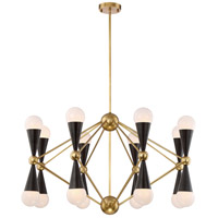 Crosby 16 Light 36 inch Aged Brass and Matte Black Chandelier Ceiling Light
