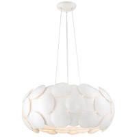 Crown 7 Light 23 inch Gloss White Chandelier Ceiling Light