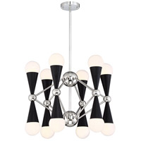 Polished Nickel and Matte Black Chandeliers