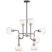 Zeev Lighting CD10224/8/PN+MBK Pierre 8 Light 34 inch Polished Nickel and Matte Black with Glass Chandelier Ceiling Light