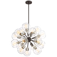 Zeev Lighting CD10225/18/PN+MBK Pierre 18 Light 24 inch Polished Nickel and Matte Black with Glass Chandelier Ceiling Light