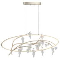 Zeev Lighting CD10290/LED/SL-AG Orchard LED 15 inch Sliver Leaf with Antique Gold and Crystal Chandelier Ceiling Light