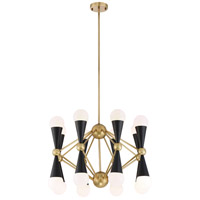 Zeev Lighting CD10299/16/AGB+MBK Crosby 16 Light 36 inch Aged Brass and Matte Black with Glass Chandelier Ceiling Light