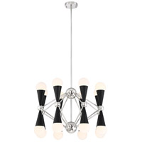 Zeev Lighting CD10300/16/PN+MBK Crosby 16 Light 36 inch Polished Nickel and Matte Black with Glass Chandelier Ceiling Light