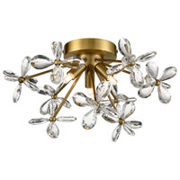 Zeev Lighting FM60053/3/AGB Adelle 3 Light 15 inch Aged Brass Flush Mount Ceiling Light