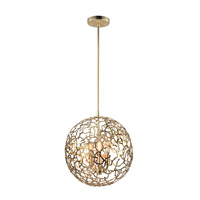 Helios 3 Light 14 inch Matte Gold Pendant Ceiling Light