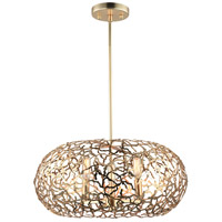 Zeev Lighting P30039/6/SG Helios 3 Light 18 inch Matte Gold Pendant Ceiling Light