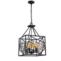 Plexus 4 Light 15 inch Rustic Iron Pendant Ceiling Light