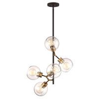 Pierre 5 Light 17 inch Polished Brass and Matte Black Pendant Ceiling Light
