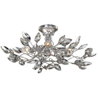 Zeev Lighting SF50004/4/SL-CL Misthaven 4 Light 24 inch Silver Leaf with Clear Crystal Semi Flush Ceiling Light