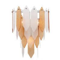 Stratus 3 Light 15 inch Chrome Frame Amber and Frosted Glass Wall Sconce Wall Light