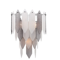 Stratus 3 Light 15 inch Chrome Frame Smoke and Frosted Glass Wall Sconce Wall Light