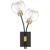 Zeev Lighting WS70029/2/PB+MBK Pierre 2 Light 20 inch Polished Brass and Matte Black with Glass Wall Sconce Wall Light