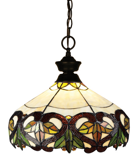 Z-Lite 100701BRZ-Z14-33 Signature 1 Light 14 inch Bronze Pendant Ceiling Light in Multi Colored Tiffany Glass (33) photo