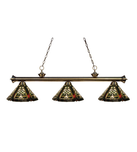 Z-Lite Tiffany 3 Light Billiard in Antique Brass 100703AB-Z14-16 photo