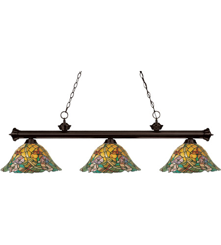 Z-Lite 100703BRZ-Z14-18 Eden 3 Light 54 inch Bronze Island/Billiard Ceiling Light in Multi Colored Tiffany Glass (16) photo