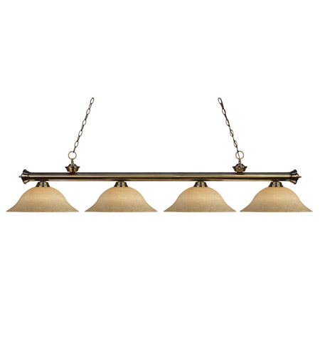 Z-Lite 100704AB-GM16 Riviera 4 Light 68 inch Antique Brass Billiard Ceiling Light in Golden Mottle photo