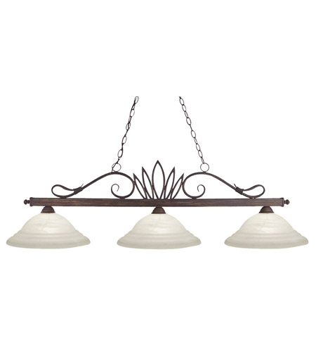 Z-Lite 119-3-WB-SW16 Crown 3 Light 55 inch Weathered Bronze Billiard Ceiling Light in White Swirl photo