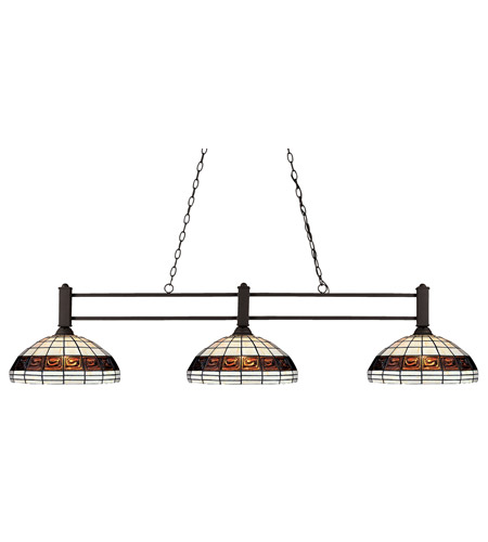 Z-Lite 127-3BRZ-F14-1 Challenger 3 Light 53 inch Bronze Billiard Light Ceiling Light in 14, Multi Colored Tiffany Glass (F14-1) photo