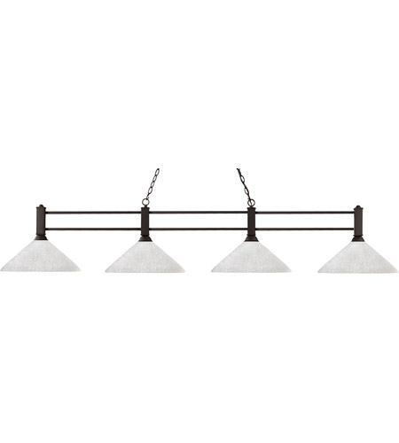 Z-Lite 127-4BRZ-AWL14 Challenger 4 Light 71 inch Bronze Billiard Ceiling Light in 14, White Linen Angular photo