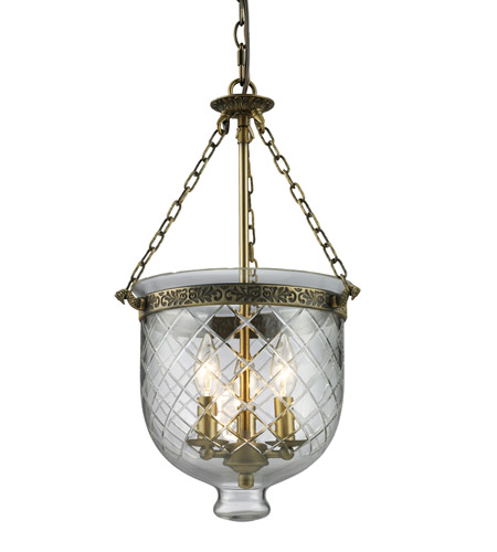 Z-Lite Tudor 3 Light Pendant in Antique Brass 136-22 photo
