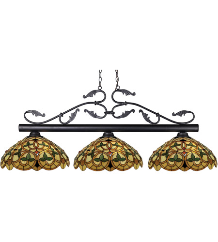 Z-Lite 140BRZ-C14 Bourbon 3 Light 53 inch Bronze Island Light Ceiling Light in 14, Multi Colored Tiffany Glass (C14) photo
