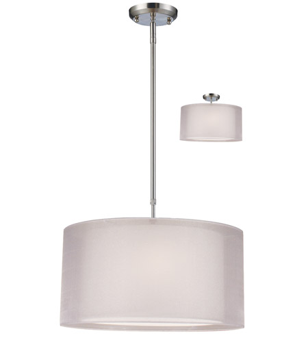 Z-Lite Nikko 3 Light Pendant in Brushed Nickel/White 144-18W photo