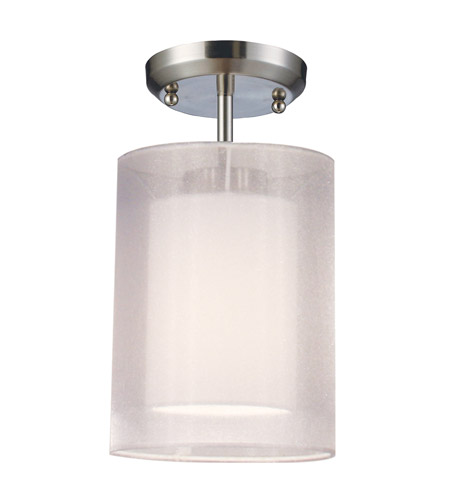 Z-Lite Nikko 1 Light Semi-Flush Mount in Brushed Nickel/White 144-6W-SF photo
