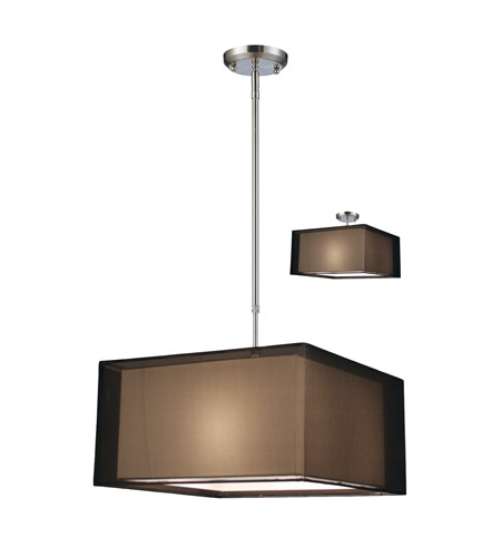 Z-Lite Nikko 3 Light Pendant in Brushed Nickel/Black 145-18BK photo