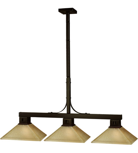 Z-Lite 150BRZ-MGL13 Flatwater 3 Light 48 inch Bronze Billiard Ceiling Light in Mission Golden Linen photo