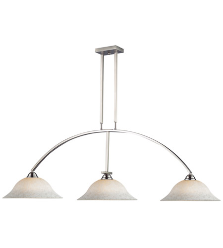 Z-Lite 151BN-WM16 Martini 3 Light 61 inch Brushed Nickel Island Light Ceiling Light in White Mottle photo
