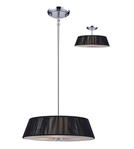 Z-Lite Millennium 3 Light Pendant in Black / Chrome 162-16BK-C photo