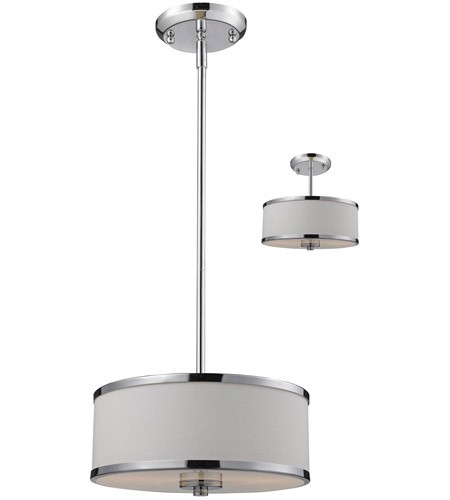 Z-Lite 164-12 Cameo 2 Light 12 inch Chrome Pendant Ceiling Light in White and Chrome photo