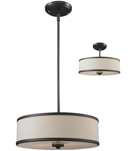 Z-Lite 165-16 Cameo 3 Light 16 inch Factory Bronze Pendant Ceiling Light in Creme and Bronze photo thumbnail