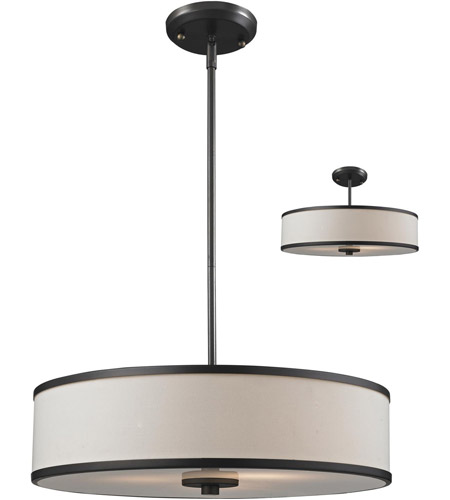Z-Lite 165-20 Cameo 3 Light 20 inch Crème/Bronze Convertible Pendant Ceiling Light in Creme and Bronze photo